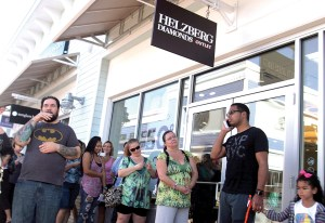 Crowds gathered outside stores on opening day at Tampa Premium Outlets. The mall was part of nearly $685 million in new construction that is pushing up Pasco County's property values.