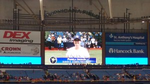Pam Ingram, of Wesley Chapel, is on the big screen at the Tampa Bay Rays' game on July 17.