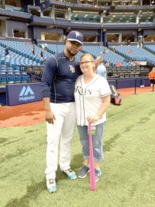 Alex Colome drops by to say hello to Pam Ingram before the game. (Photos courtesy of Pam Ingram)