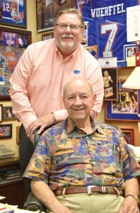Len Johnson, standing, and Hjalma Johnson are the first father-son presidents of Gators Boosters Inc., the fundraising arm of the University of Florida's athletic association. (Tom Jackson/Photo)