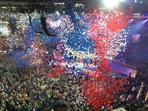 When the balloon drop happened at the 2016 Democratic National Committee, it seemed like the balloons would never stop dropping, besides being plentiful — many of the balloons were huge. (Photos courtesy of Dr. Susan A. MacManus)