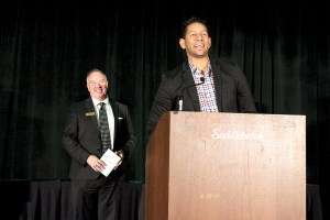 Vladimir Breton, of Optimum Plumbing, addresses the audience. His company won Service/Distribution Company of the Year.