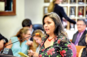 Rosie Paulsen, president-elect of the Hispanic Professional Women's Association, spoke to Pasco County commissioners about the need for a Commission on the Status of Women and a local Women's Hall of Fame.