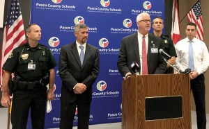 Pasco County Superintendent Kurt Browning address the new Anti-Terroristic Threat Law during a Sept. 30 press conference. The law, which took effect Oct. 1, makes false reports about using firearms in a violent manner a second-degree felony. (Kevin Weiss/Staff Photo)