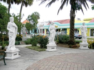 Statues on John Ringling Boulevard showcase the seven virtues of Sarasota – music, flora, learning, sculpture, medicine, bounty and water. (Kathy Steele/Staff Photos)