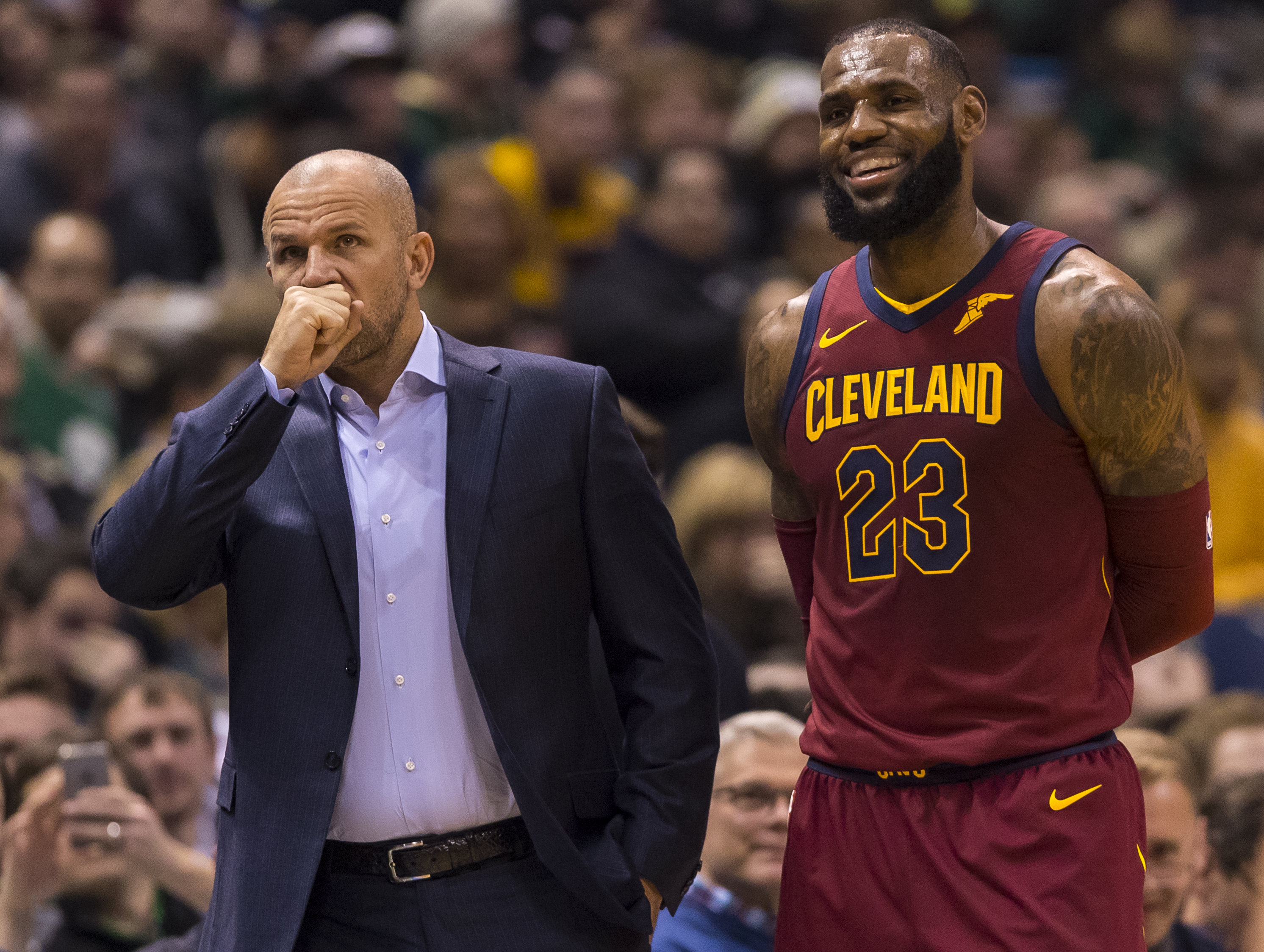 ff160171d34 Dec 19, 2017; Milwaukee, WI, USA; Milwaukee Bucks head coach Jason Kidd  talks with Cleveland Cavaliers forward LeBron James (23) during the first  quarter at ...