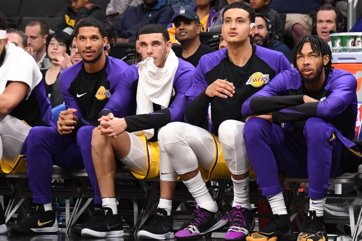 Kyle Kuzma, Brandon Ingram, Josh Hart, and Lonzo Ball