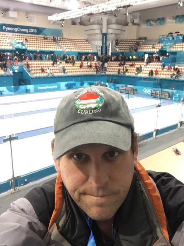 Josh Arnold at the Olympic curling venue in PyeongChang, South Korea