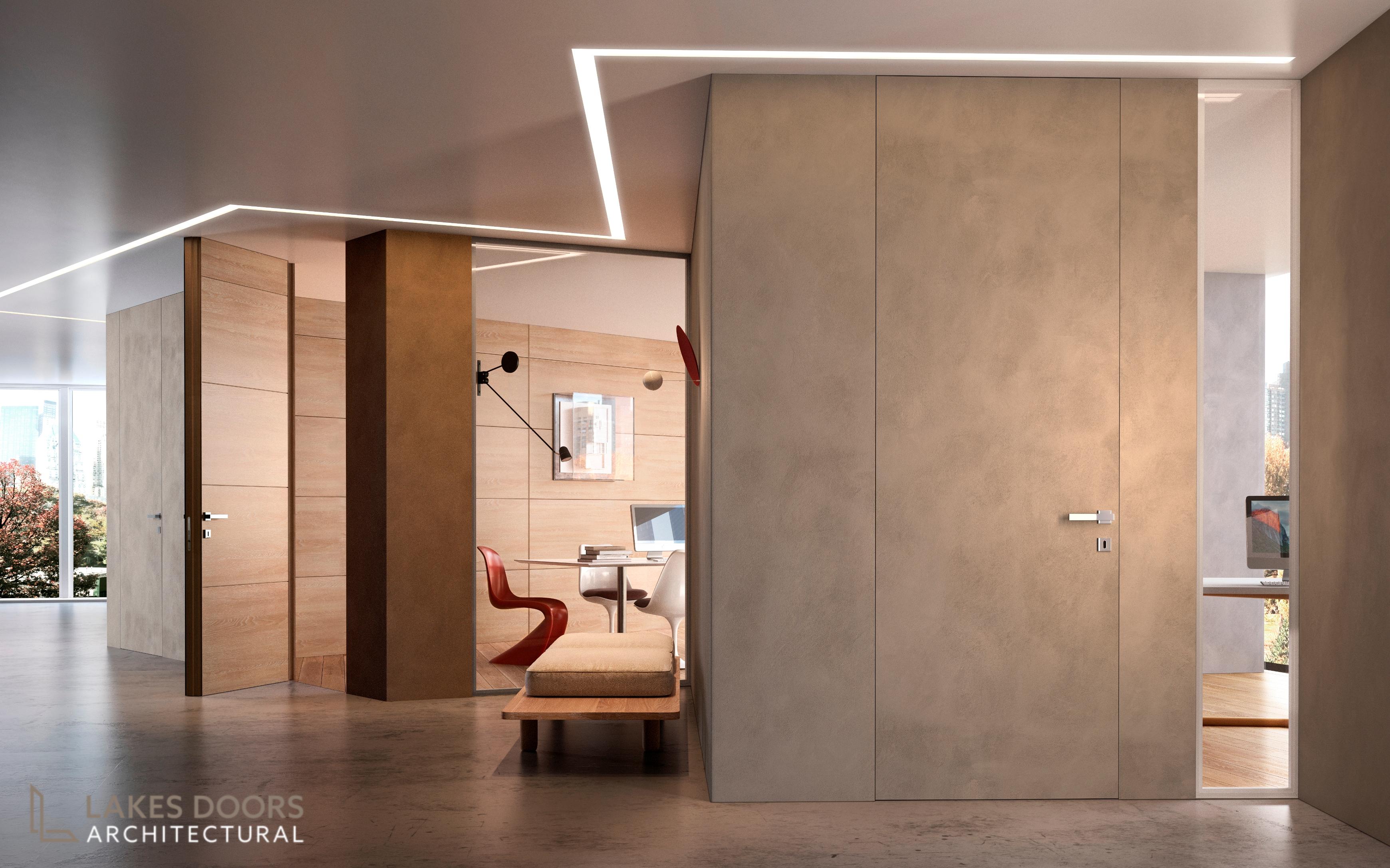 Frameless plaster doors