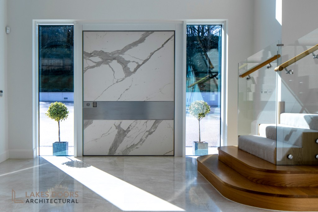 White Marble Pivot Door
