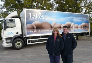 Helen Brass with Lakes Free Range Egg Co transport manager Ian