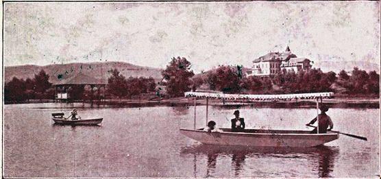 The Lakeside Boathouse - 1901 - Lindo Lake & Lakeside Inn RPPC (ISOM) c