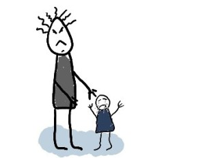 stick figure man and child