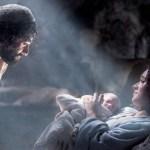 a scene of the nativity - Mary, Joseph and baby Jesus
