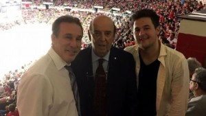 Courtesy of Ken Daniels. Detroit Red Wings announcer Ken Daniels, left, legendary hockey voice Bob Cole, and Ken's son, Jamie, right.