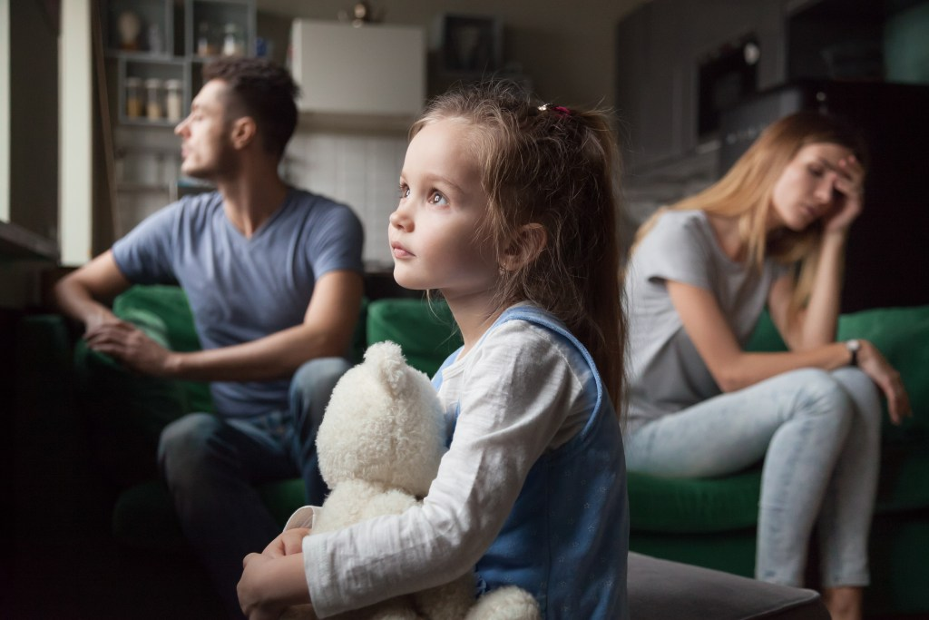 Upset little girl over her parents fighting