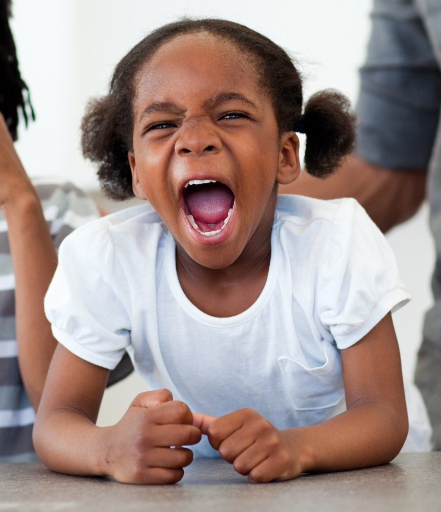 Angry little girl shouting