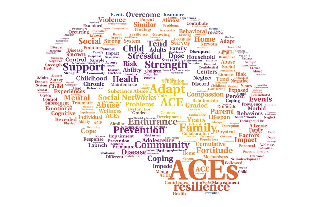 ACEs logo in brain word cloud