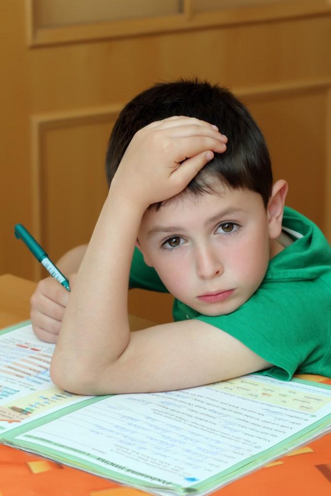 boy doing homework from school in workbook