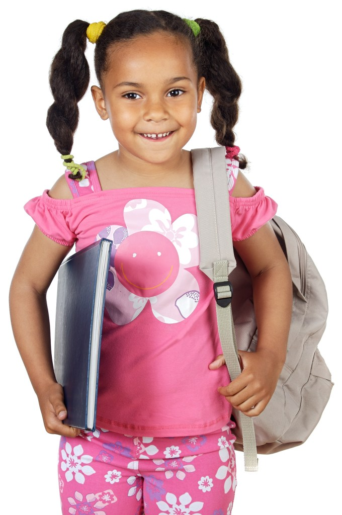 Little girl with notebook and backpack. Back to school image.