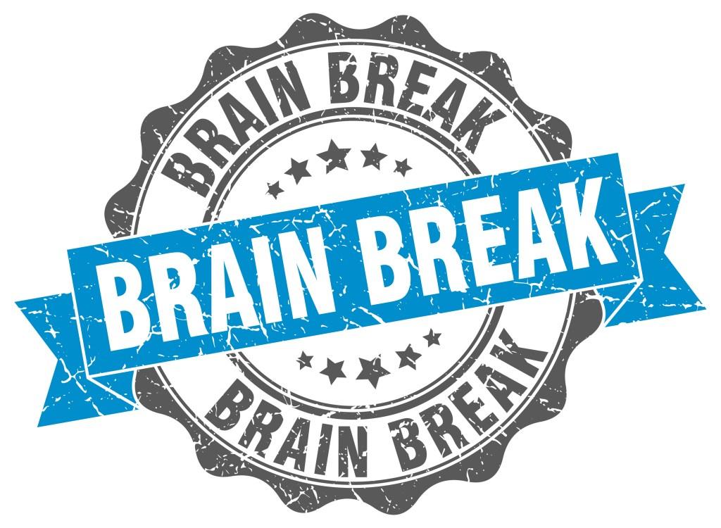 brain break. stamp. sign. seal. round. retro. ribbon