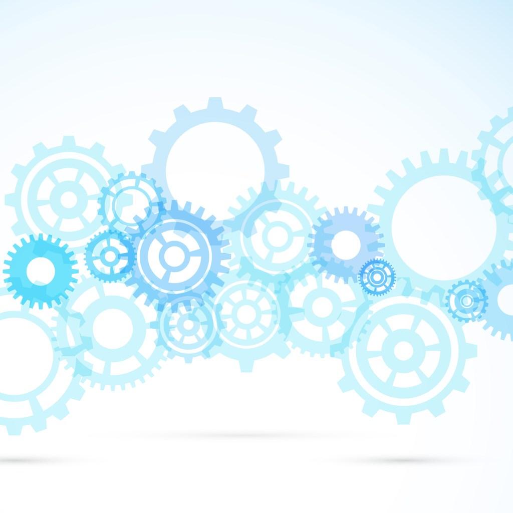Blue gear abstract modern mechanical background.