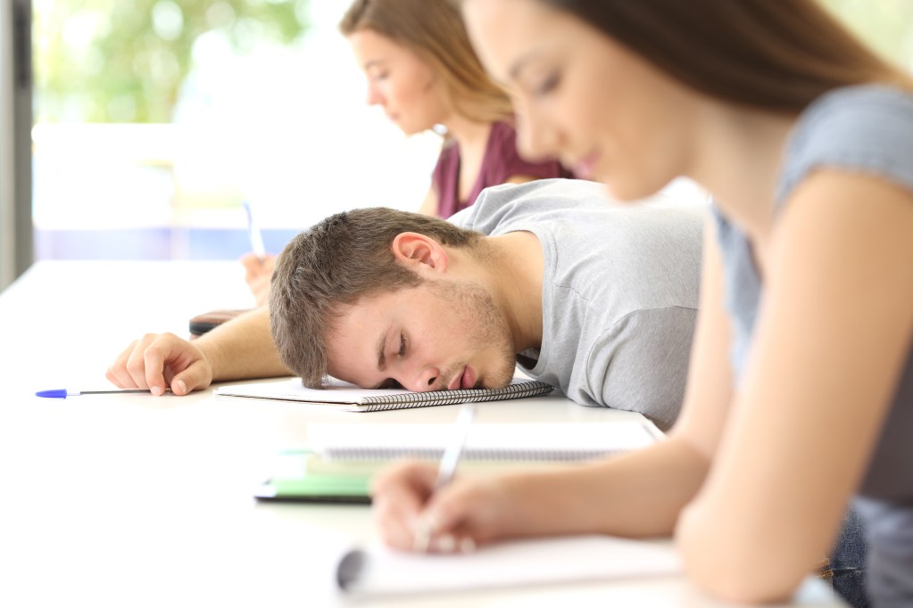 Tired student sleeping in a class at classroom between other classmates