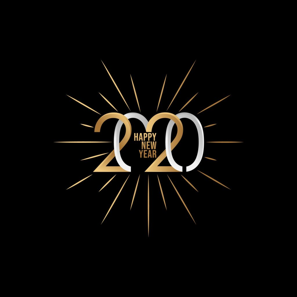 2020 colorful Text isolated on black background, New Year 2020, 2020 text for Calendar New years, Happy New Year 2020,2020 Beginning concept, Number 2020, New Year 2020 Creative Design Concept, New 2020 vector.