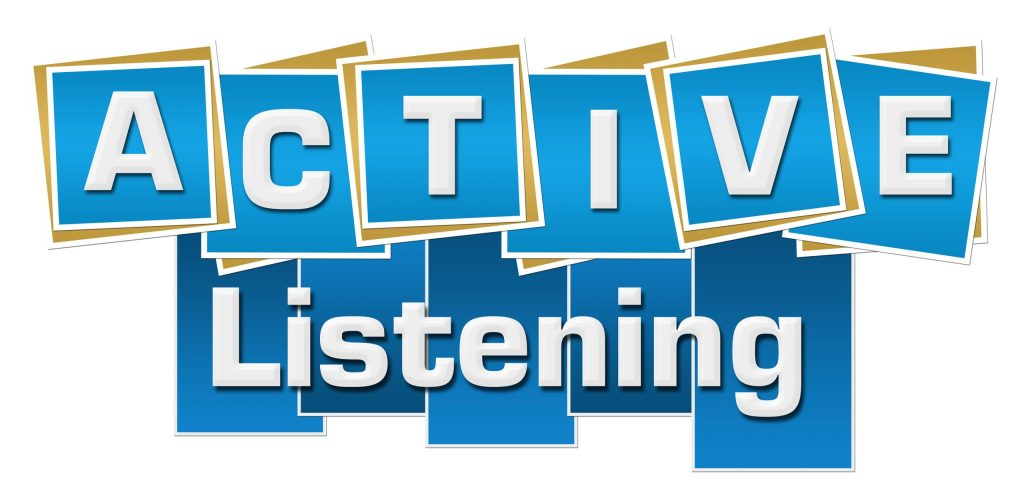 Active listening text alphabets written over blue background.