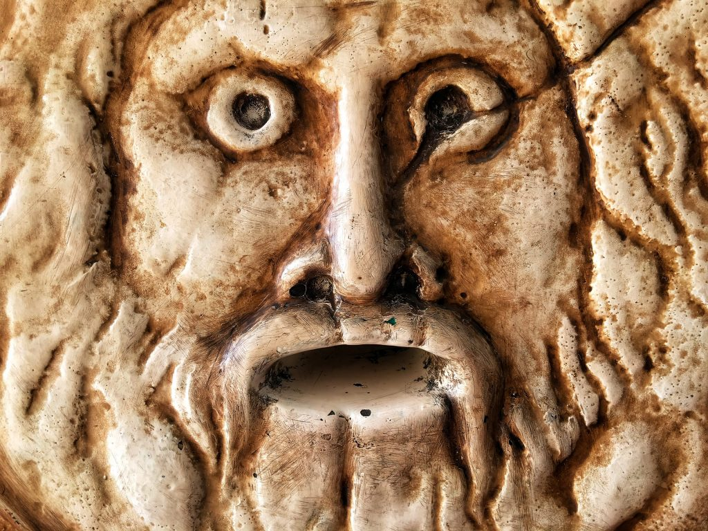 Scary Historical Ancient Marble Face Background Photo