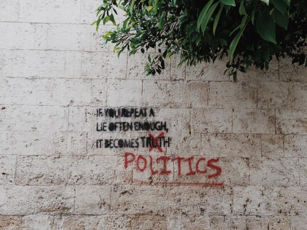 Political message spray painted on wall