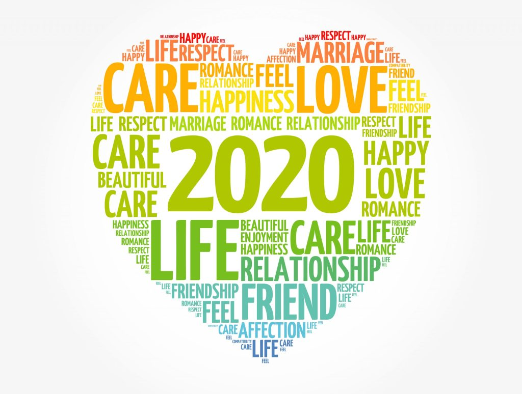 2020 Love and care concept, heart word cloud collage background