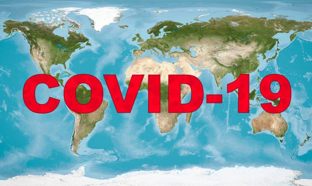 COVID-19 coronavirus pandemic, name COVID-19 on global map.