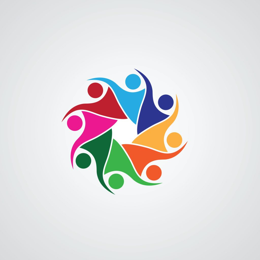 Human character, abstract man figure, teamwork icon