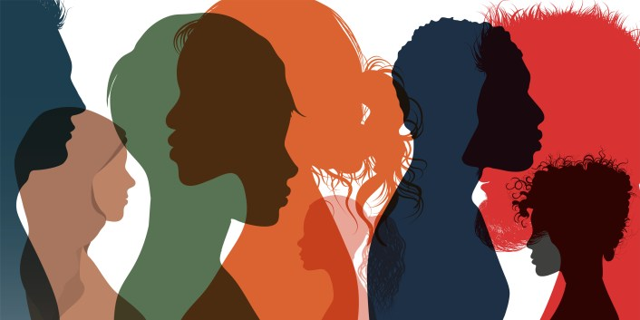 Silhouette profile group of men women and girl of diverse culture. Diversity multi-ethnic and multiracial people.  Multicultural society. Friendship