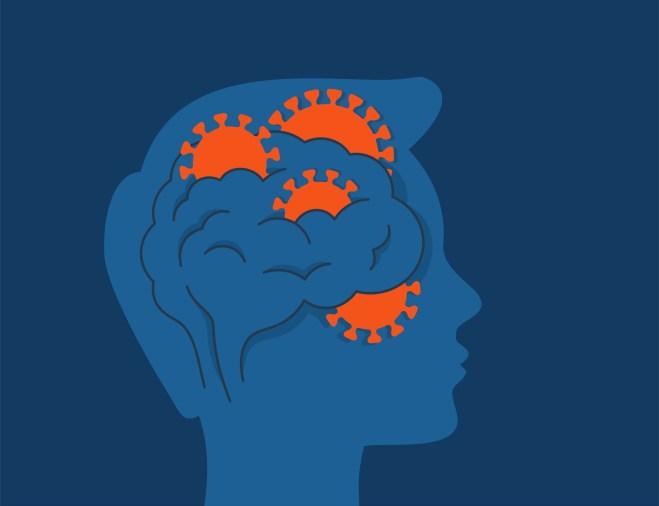 COVID-19 coronavirus Affect the Brain. Human head profile with viruses inside a brain. Vector illustration