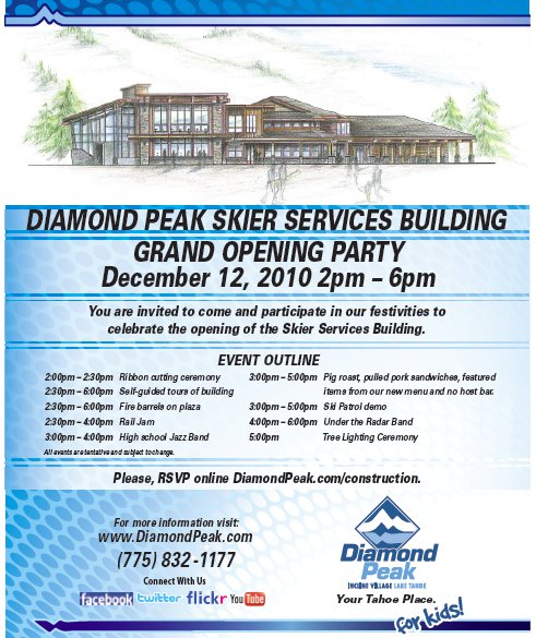 Diamond Peak's Skier Services Building Grand Opening Party This Sunday!