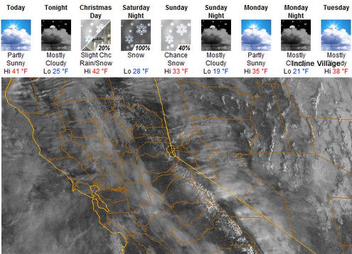 Lake Tahoe Area Christmas Weekend Forecast