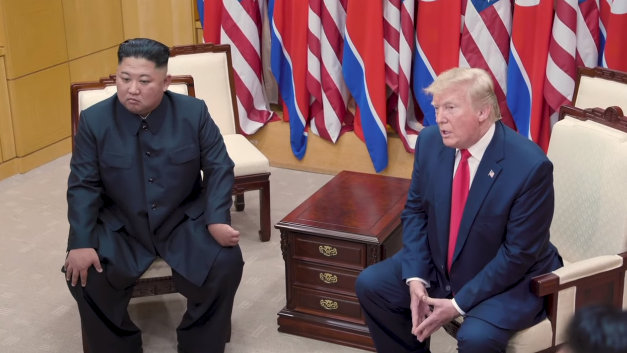 Trump and Chairman Kim Jong Un of the Democratic People's Republic of Korea in 1:1 Meeting