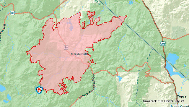 Tamarack Fire July 22 Morning Update.  50,129 Acres, 4% Containment, 1,213 Personnel on Fire