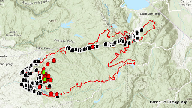 Caldor Fire's Destruction Maps Shows 994 Structures Destroyed as of This Morning