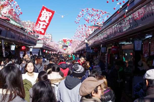 The market outside Senso-ji shrine. Lots of people everywhere!