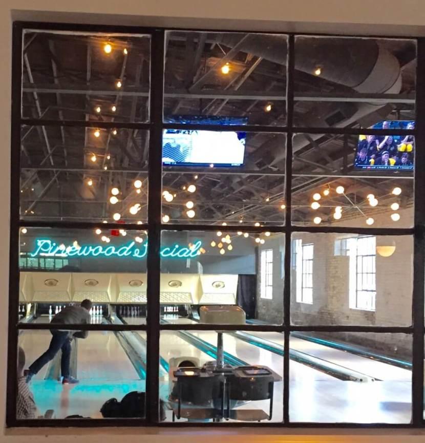 Pinewood Social bowling on Lakeside Table