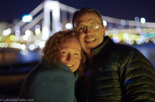 Budapest at night... Jerry and I leaving Budapest in the golden glow of the Parliament- I can't wait to go back! | www.lakesidetable.com