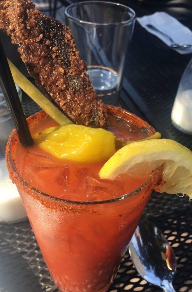 bloody mary with candied bacon