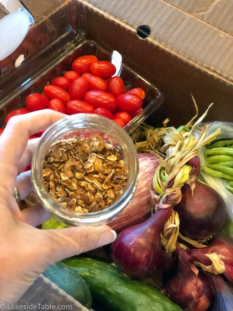A look into a jar of granola