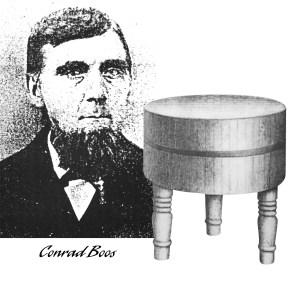 portrait of Conrad Boos and his butcher block