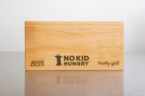 Boos butcher block with Firefly Grill and No Kid Hungry