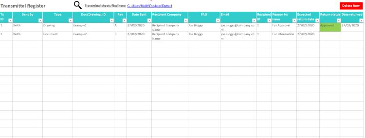 screenshot of transmittal register