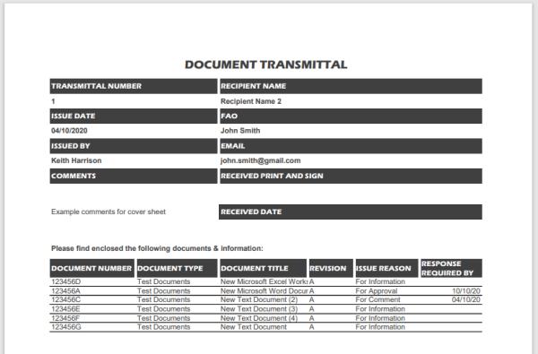 Excel Document Transmittal Sheet